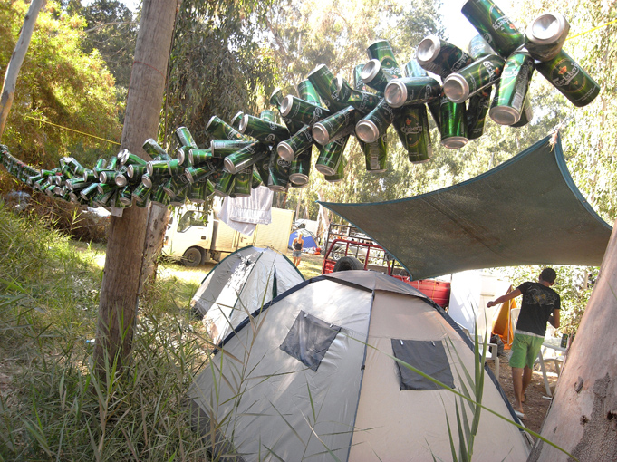 beer cans. Polis Pafos camping site. 15 August '09. Photo: Pan. all rights reserved